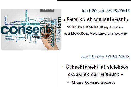 Conversation XII du Jeudi 20 mai de 18h15 à 20h15 – Emprise et consentement